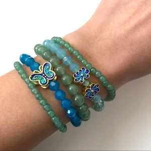 NWOT 5 Crystal & Aventurine Gemstone Bracelets